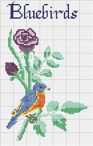 Схема вишивки хрестиком композиції з квітів.